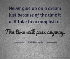 never give up on a dream just because of the time it will take to accomplish it -- the time will pass anyway