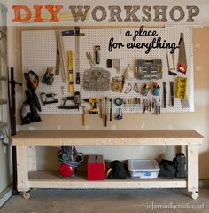 DIY Home Projects | If you are a DIYer, then you NEED a workshop like this! The workbench with locking casters can be moved around as needed and eliminates backaches from bending over. The pegboard keeps all your tools organized and right at your fingertips!
