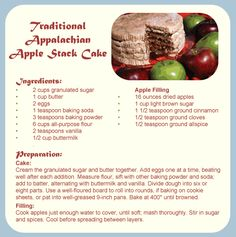 Traditional Appalachian Apple Stack Cake RECIPE. I will personally vouch for this cake. It is delicious, especially in winter with hot cider and a fireplace. :)