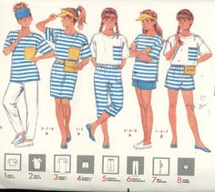 Girl's Dress, Tops, Shorts, Pants, Belt, Visor, Butterick 3989 Uncut All Sizes - Children