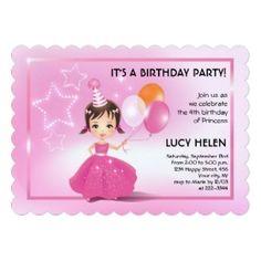 Pink Princess with Balloons Invitation #princess #pink