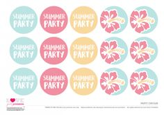 Free Hawaiian Summer Party Printables - party circles   CatchMyParty.com Party Printables, Free Printables, Nautical Party, Free Summer, Silhouette Cameo Projects, Summer Parties, Free Blog, Luau, Circles