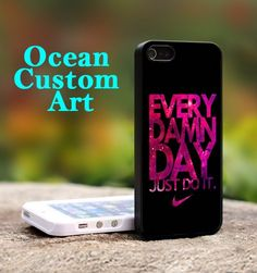 Nike Every Damn Day - Print on Hard Cover iPhone 4/4S Black Case