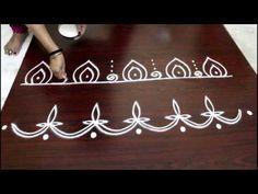 how to draw rangoli border designs step by step || kolam border designs | muggulu side designs - YouTube
