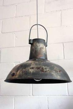 Large Vintage Ceiling Lamp Shades - Grey Distressed Metal