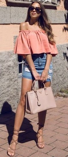 #summer #kenzas #outfits |  Peach + Denim