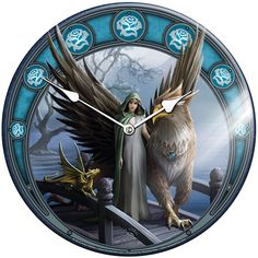 Anne Stokes Glass Clock Realm of Tranquility Anne Stokes, Cool Clocks, Gothic, Lion Sculpture, Dragon, Fantasy, Statue, Glass, Artist