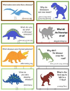 Fun Dinosaur Lunch Notes with Jokes  by ABizzieMom on Etsy, $2.00