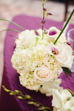 White Hydrangea and Orchid Reception Arrangement   photography by http://www.elainepalladino.com/