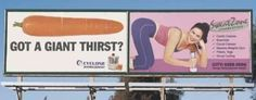 Ad Placement FAIL - Cindy, your billboard looks great! Advertising Fails, Bad Advertisements, Creative Advertising, Advertising Companies, Print Advertising, Funny Ads, Funny Signs, Funny Sarcastic, Funny Jokes