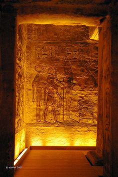 Ancient reliefs at the Great Temple of Rameses II, Abu Simbel, Egypt