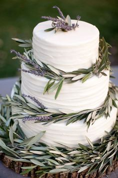 lavendar olive wedding cake