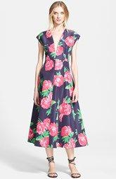 Michael Kors Plunge Neck Geranium Print Silk Faille Dress