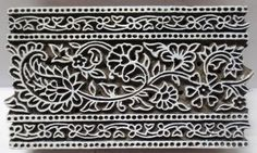 Indian Wooden Hand Carved Textile Printing Fabric Block Stamp Floral & Paisley. Jaipur, Rajasthan, India.