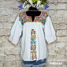 San Antonio Mexican Blouse - 3/4 Sleeve – Camelia Mexican Boutique Mexican Top, Mexican Blouse, Mexican Dresses, Muslin Fabric, Cotton Thread, San Antonio, Color Patterns, Favorite Color, Size Chart