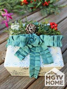 HGTV's @Hollie Baker. Camille Smith used HGTV HOME Fabric trim to wrap her gifts with a festive touch. #12DaysOfHGTVHOME