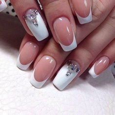 Captivating Thick White Nails With Silver Jewels #Frenchmanicure