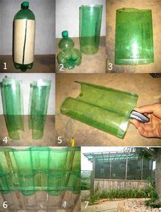 Green house from soda bottles.