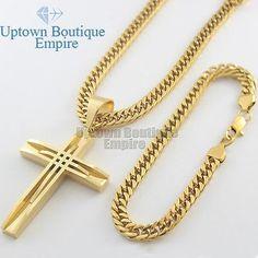 nice 24 men's stainless steel Gold cuban link chain necklace bracelet cross pendant - For Sale