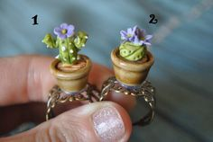Adjustable ring cactus in a pot Blue flower by Sifakacreations