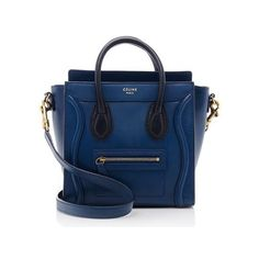 Rental Celine Smooth Calfskin Nano Luggage Tote ($300) ❤ liked on Polyvore featuring bags, handbags, tote bags, blue, over the shoulder purse, blue crossbody, crossbody handbags, wing tote and crossbody purse