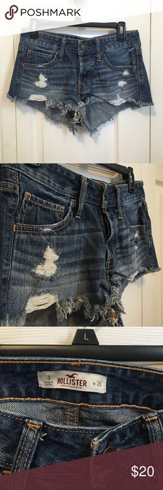 BRAND NEW Hollister Shorts Never worn! I tried them on and they were too big for me! No damage and let me know if you have any questions and I do accept offers so feel free to make one! This is a size 3 and the waist is 26 Hollister Shorts Jean Shorts