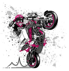 Stunt girl illustration on Behance Motorcycle Stickers, Motorcycle Art, Graffiti Doodles, Bike Drawing, Bike Tattoos, Bike Illustration, Bike Photography, Joker Art, Airbrush Art