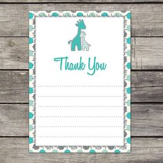 WE PRINT Teal and Gray Giraffe Baby Shower by PartyPrintery