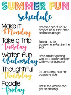 Summer schedule with fun ideas to fill the week during summer break! Summer Activities For Kids, Summer Kids, Toddler Activities, Learning Activities, Time Activities, Indoor Activities, Teaching Ideas, Week Schedule, Summer Schedule