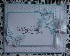 Sympathy Card, With Sympathy, Condolences, Sorry for your loss, Green and White, embossed, handmade, hand stamped, butterfly,