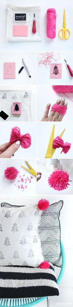 DIY Pom Pom Pillow Tutorial