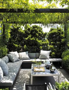 Sitting area with Wisteria-covered pergola on terrace for Michael Kors Backyard Sitting Areas, Backyard Seating, Backyard Patio Designs, Garden Seating, Backyard Landscaping, Outdoor Seating Areas, Outside Seating Area, Terraced Landscaping, Terraced Backyard