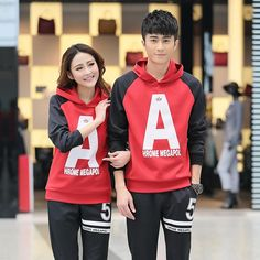 Red & Black Winter Couple Suit With Hooded & Long Sleeve Matching Couple Outfits, Matching Couples, Couple Tees, Boyfriend Girlfriend, Red Black, Girlfriends, Bae, Cute Outfits, Suits