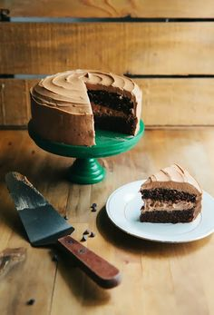 One Bowl Chocolate Cake with Mocha Buttercream Frosting...<3