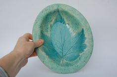 Teal Leaf Plate Bowl Pottery Serving Dish Teal by REDceramics, £16.00