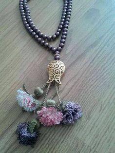 . Crochet Accessories, Car Accessories, Tassel Necklace, Crochet Necklace, Bruges Lace, Point Lace, Needle Lace, Macrame Jewelry, Crochet Flowers