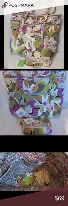 """NWT Vera Portobello Road Tote & Cosmetic Bag Lot NWT Portobello Road Tote & Cosmetic Bag Lot  Large Tote   Portobello Road Vera Bradley Inside, two roomy side compartments and three interior slip pockets.  Back zip pocket.  Care: Machine wash cold, gentle cycle, only non-chlorine bleach as needed, line dry.  Measures: 13"""" x 13"""" x 6"""" Strap Drop: 11""""  Cosmetic bag 6.5"""" X 5.5""""     All of my items are Guaranteed 100% Genuine I do not sell FAKES of any kind   No Trades (S091) Vera Bradley Bags"""
