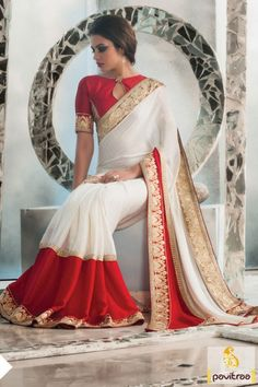 Best Sarees Online Shopping With Price Blouse Patterns, Saree Blouse Designs, Indian Dresses, Indian Outfits, Red And White Saree, Sarees Online India, Saree Look, Saree Collection, Designer Collection