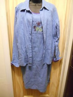 Coldwater Creek Medium Blue Purple Linen Cotton Blend 2 Piece Dress Jacket  #ColdwaterCreek #Shift #Casual