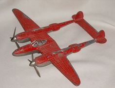 Antique Metal Toy Hubley P-38 WWII Plane
