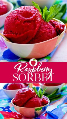 Homemade Raspberry Sorbet is only minutes away! All you need are just 4 ingredients to make a perfect light summer treat! Rasberry Sorbet, Fruit Sorbet, Sorbet Ice Cream, Frozen Desserts, Summer Desserts, Frozen Treats, Fun Desserts, Summer Drinks, Popsicle Recipes