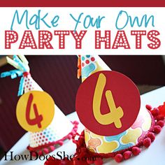 Birthday Party Hats - Could be fun for Liam's b-day!