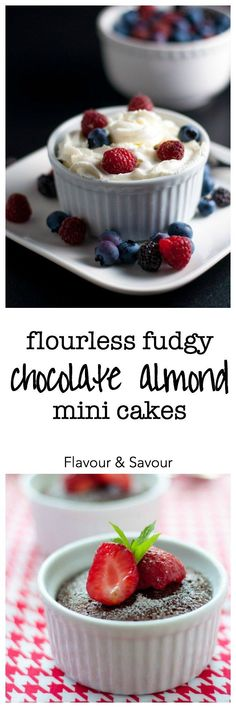Try these Flourless Fudgy Mini Chocolate Almond Cakes when you just want a taste! They're decadently delicious, and gluten-free. Rave reviews.  www.flavourandsavour.com