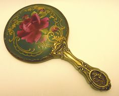 Victorian porcelain and silver Vanity Hand Mirror with a Bold Red Rose Design in Antiques, Decorative Arts, Mirrors Vintage Mirrors, Vintage Vanity, Antique Vanity, Silver Vanity, Art Deco Vanity, Dresser Sets, Mirror Set, Rose Design, Vintage Roses
