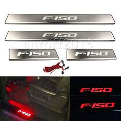 Blue LED Door Sill Scuff Plate Guard Fit Ford Stainless Steel Designed to prevent scratches and scuffs on the door sill and make your car looks excellent. 1 set of 4 Pieces of led light sill plate Ford . Ford F150 Accessories, Ford Explorer Accessories, Truck Bed Accessories, Lifted Ford Trucks, Chevy Trucks, Pickup Trucks, Ford F150 Fx4, Ford 4x4, Ford Raptor