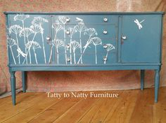 VINTAGE SIDEBOARD cabinet HAND PAINTED shabby chic TEAL blue DECOUPAGE dragonfly