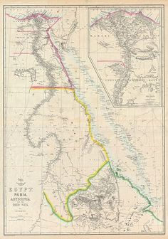 Map of Egypt, Nubia, Abyssinia and the Red Sea 1858