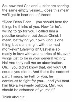Headcanon accepted ..》》》also especially in s4 and 5 like always felt like Dean is emotionally abusing cas huh