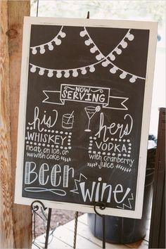 Rustic And Charming Chapel Wedding - chalkboard Chalkboard Bar, Chalkboard Designs, Chalkboard Wedding, Wedding Signage, Chapel Wedding, Rustic Wedding, Dream Wedding, Wedding Chalkboards, Wedding Bar Menu