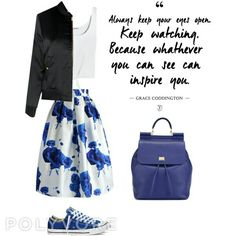 #blue #love #skirt #converse #bomber #white #quote #fashion #gracecoddington